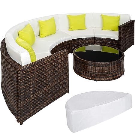dc7b4235ee7c TecTake Luxury Poly Rattan Aluminium Furniture Half Circle Sofa and Table  Set mixed-brown incl. Rain Cover + 5 Extra Pillows: Amazon.co.uk: Garden &  ...
