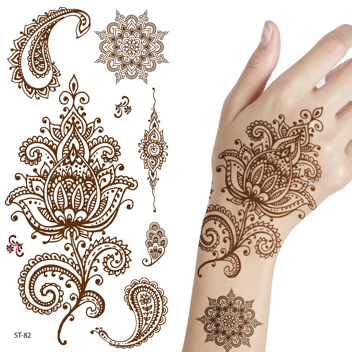 Henna Tattoo Kaufen Amazon: Amazon.com : Adecco LLC 6 Sheets Flower Temporary Henna