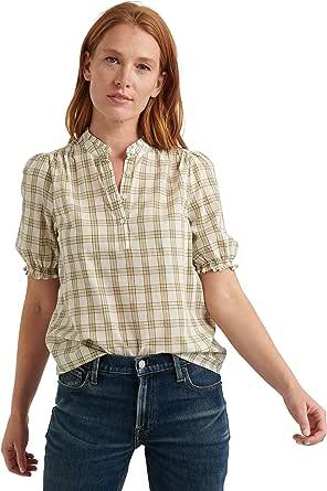 Lucky Brand Women's Short Sleeve Ruffle Collar Feminine Popover Top
