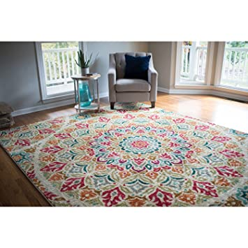 Bohemian Mandala Tribal Floral Medallion Area Rug, Featuring Exotic  Rectangle Bright Garden Flowers Patterned Indoor