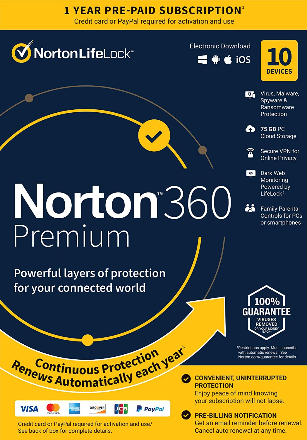 Norton 360 Premium – Antivirus Software for 10 Devices with Auto Renewal - Includes VPN, PC Cloud Backup & Dark Web Monitoring Powered by LifeLock[Key card]