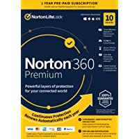 """Norton 360 Premium €"""" Antivirus Software for 10 Devices with Auto Renewal - Includes VPN, PC Cloud Backup & Dark Web Monitoring Powered by LifeLock [Key card]"""
