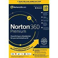 Norton 360 Premium 2021 – Antivirus software for 10 Devices with Auto Renewal - Includes VPN, PC Cloud Backup & Dark Web…