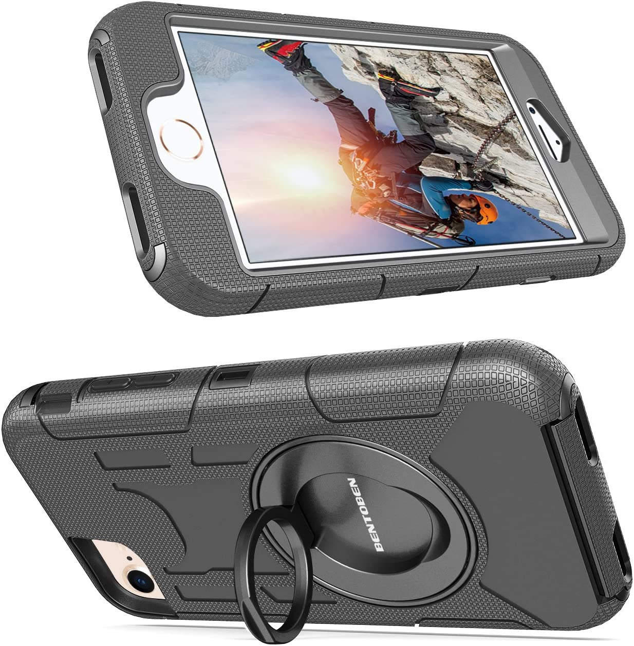 BENTOBEN iPhone 8 Case,iPhone 7 Case Heavy Duty Full Body Rugged Rotating Kickstand Swivel Ring Belt Clip Holster Hybrid 4 Layer Hard PC Soft Silicone Shockproof Protective Case for iPhone 8//7,Black