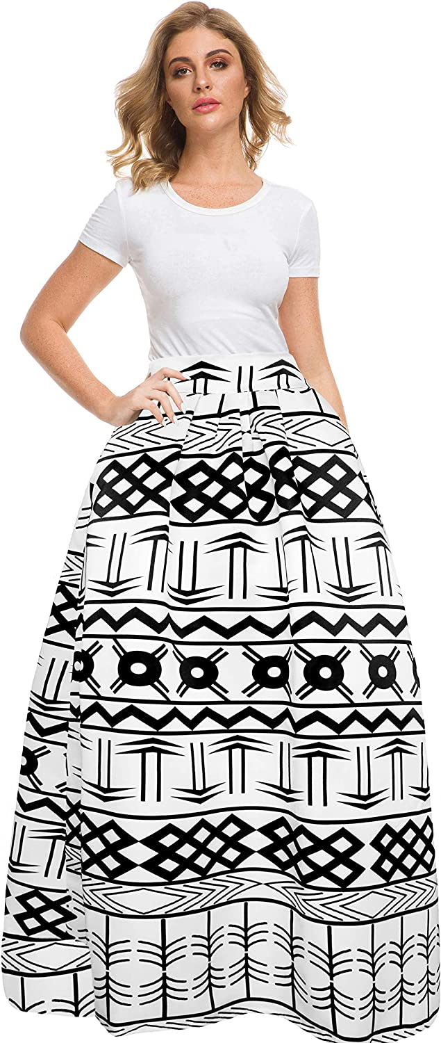 Afibi Women African Printed Casual Maxi Skirt Flared Skirt Multisize A Line Skirt