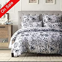 Duvet Cover Set King-Zipper Closure Printed Floral Pattern Bedding Sets (1 Duvet Cover+ 2 Pillowcases) Ultra Soft Hypoallergenic