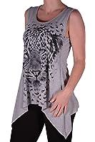 EyeCatch - Tiger Womens Long Draped Stretch Vest Top Ladies Plus Size
