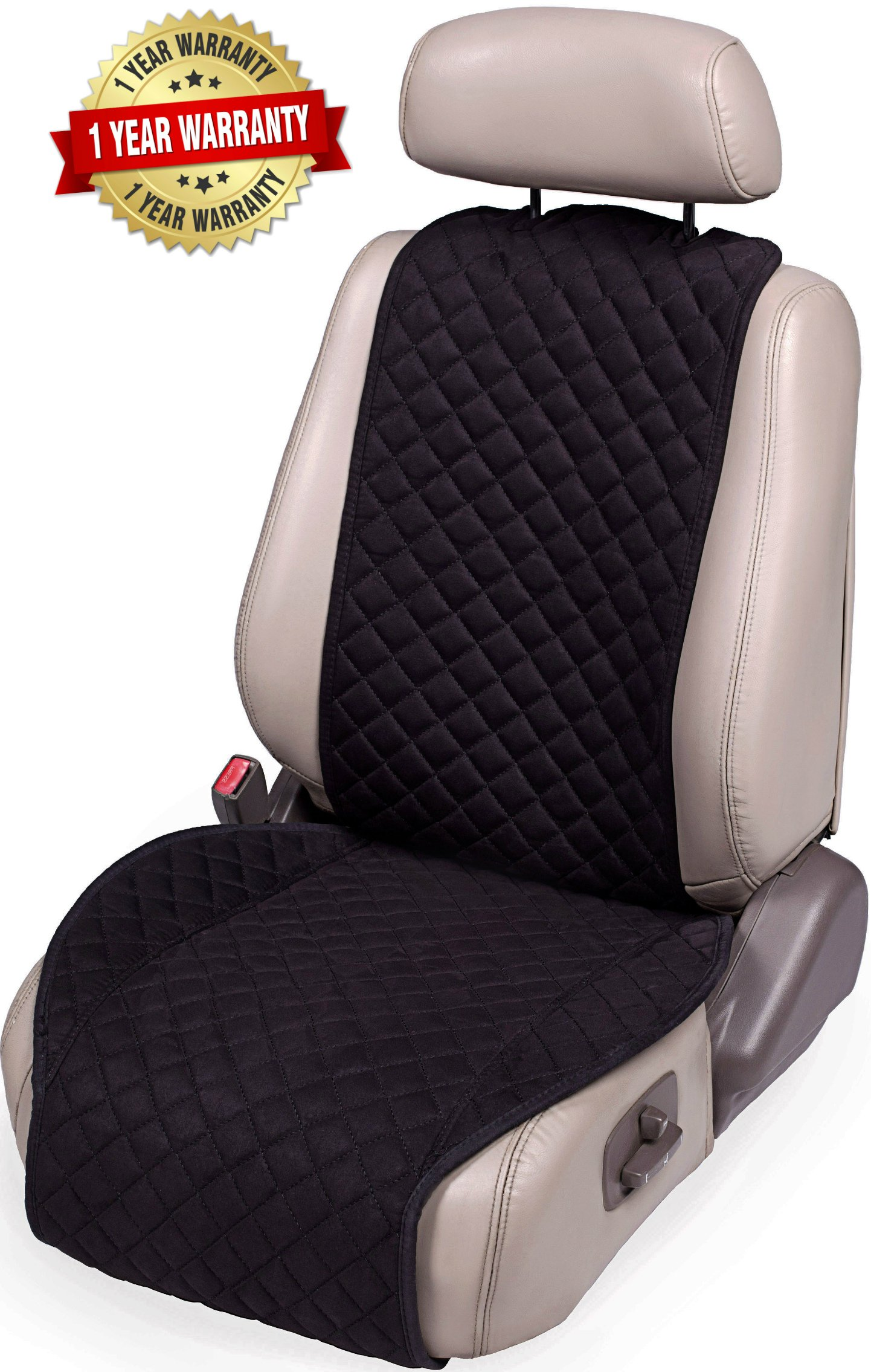 Car Driver Seat Cushion Luxury PU Leather Car Seat Protector Cover Pad Mat for Car Interior Decorate Red-Black Dealpeak