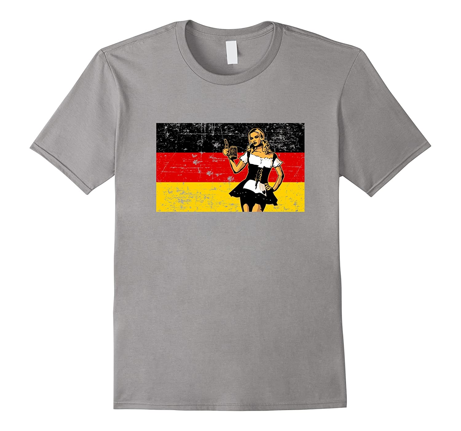 Vintage German Flag beer girl Octoberfest t-shirt-FL