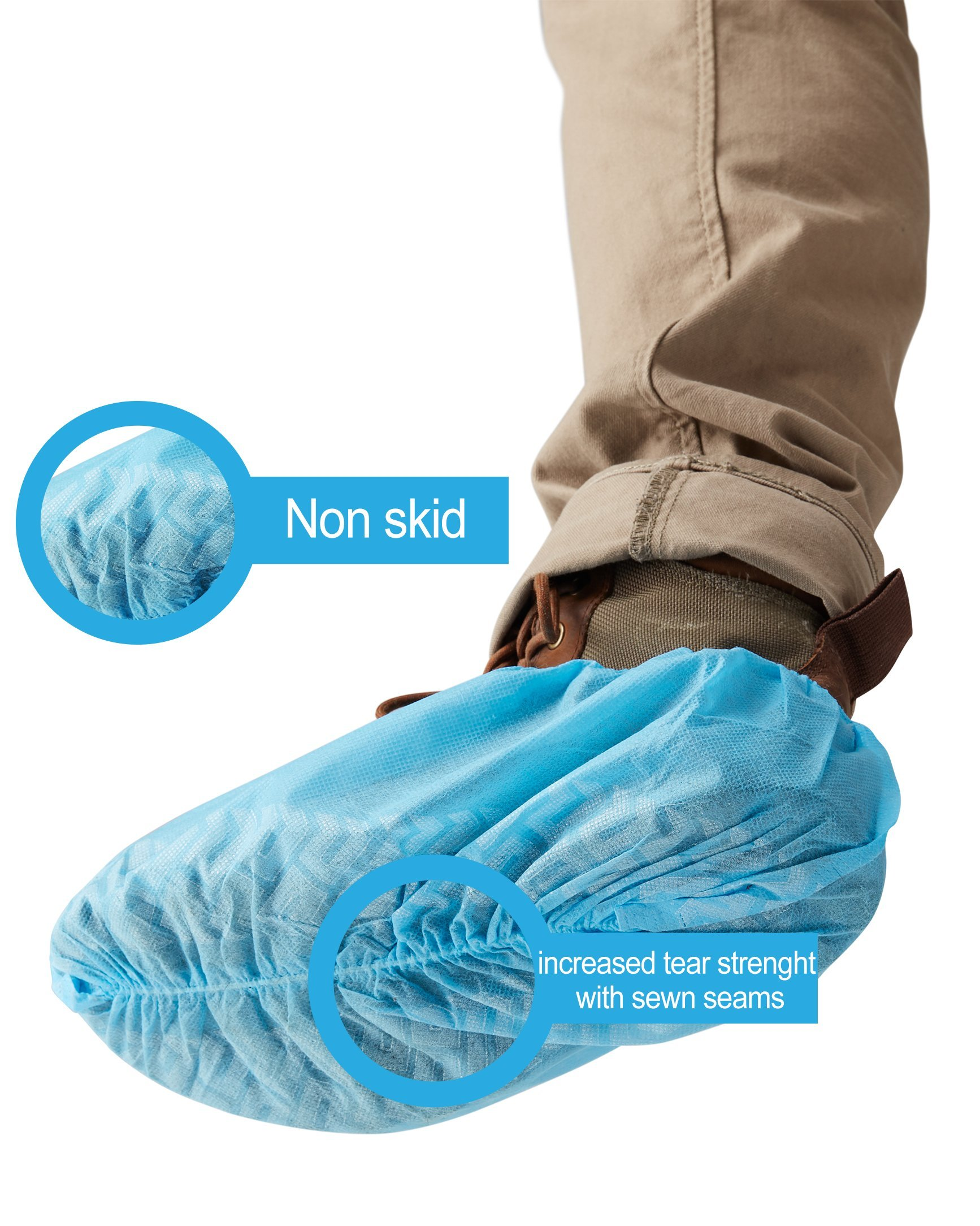 SafeBasics Non Skid Disposable Shoe Covers, Durable, Water Resistant, One Size Fits Most (100) by SafeBasics by AMD Medicom (Image #5)