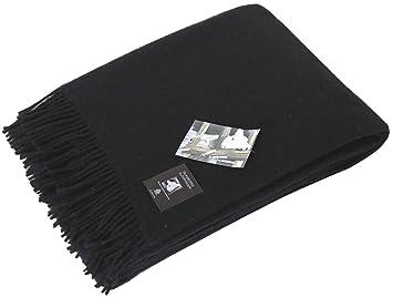 Schwarze Wolldecke Aus 100 Neuseelandischer Schurwolle Ca