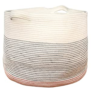 J&A Homes Extra Large Cotton Rope Storage Basket, Oversized XXL 21 x 15 Inch, Woven Laundry Hamper Pillow Planter Toy Baby Nursery