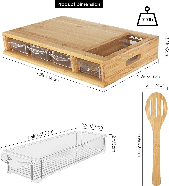 HOMECHO Tabla de Cortar con 4 Caj/ónes Tabla de Cocina Grande de Bamb/ú 40 x 27 x 8.8 cm