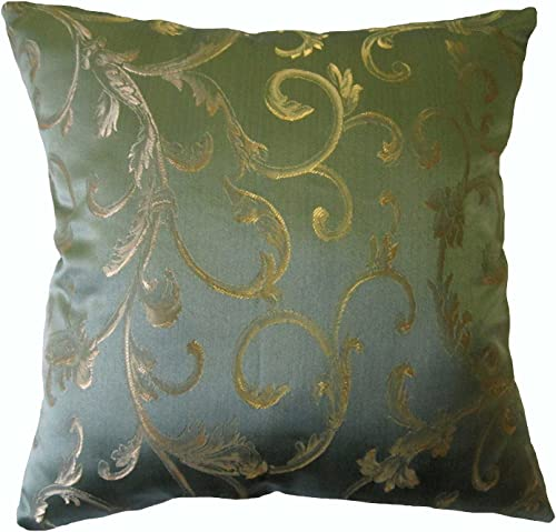 26×26 Green Floral Brocade Decorative Throw Pillow Cover
