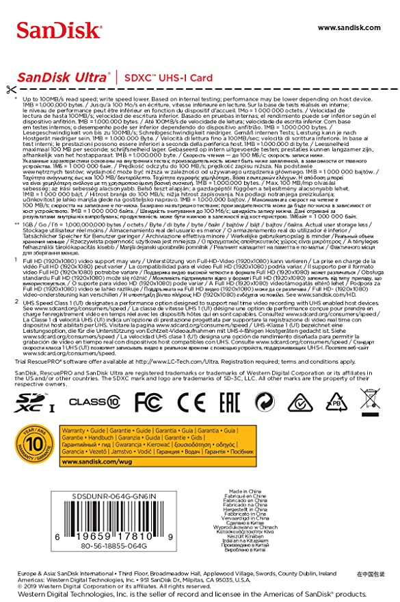 SanDisk Ultra 64 GB SDHC Tarjeta de Memoria de hasta 100 MB/s ...