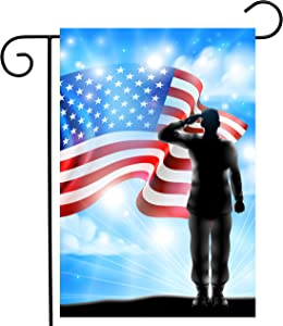 "ShineSnow American Flag Veterans Day Soldier Military Garden Yard Flag 12""x 18"" Double Sided, Polyester Memorial Patrotic Army 4th of July Welcome House Flag Banners for Patio Lawn Outdoor Home Decor"