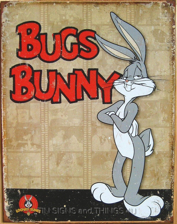 BUGS BUNNY LOONEY TUNES Vintage Cartoon Tin Sign Kid Room Man Cave Garage S-1851