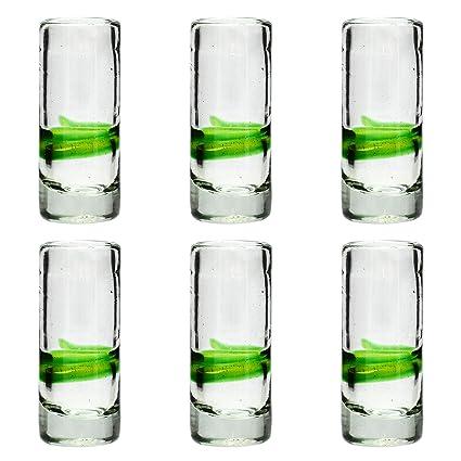 Vaso de Chupito/Tequila Artesanal – Vidrio Reciclado – Verde Mezclado – Juego de 6