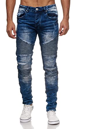 Megastyl Biker-Jeans-Hose Herren Stretch-Denim Slim-Fit Stepp-Design