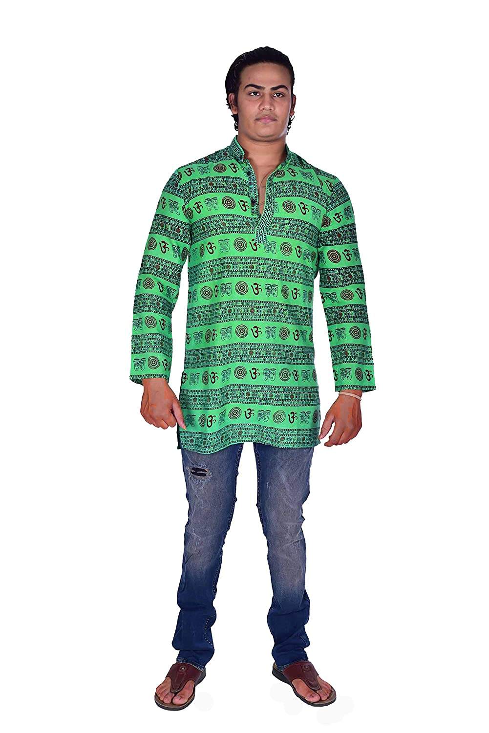 Lakkar Haveli Indian Mens Shirt Kurta Loose Fit Green Color Om Print Tunic 100/% Cotton Plus Size