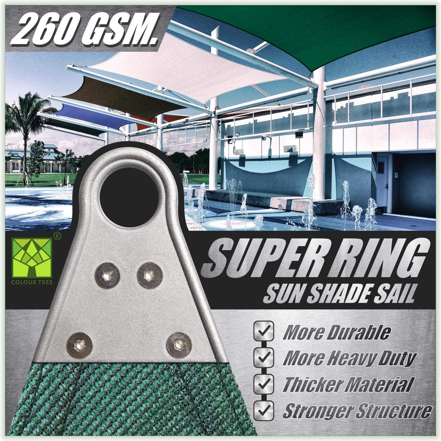5 Years Warranty 260 GSM ColourTree Super Ring Customized Size Order to Make Custom Size 6 x 6 Green Sun Shade Sail Canopy Awning Shades for Patio Commercial Standard Heavy Duty