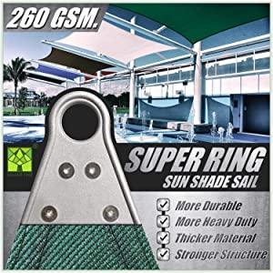 ColourTree 20' x 20' Green Square Super Ring Sun Shade Sail Canopy Structure, Super Durable Heavy Duty, Reinforced Corners, Edges & 260 GSM Permeable Fabric - 5 Years Warranty - We Customize