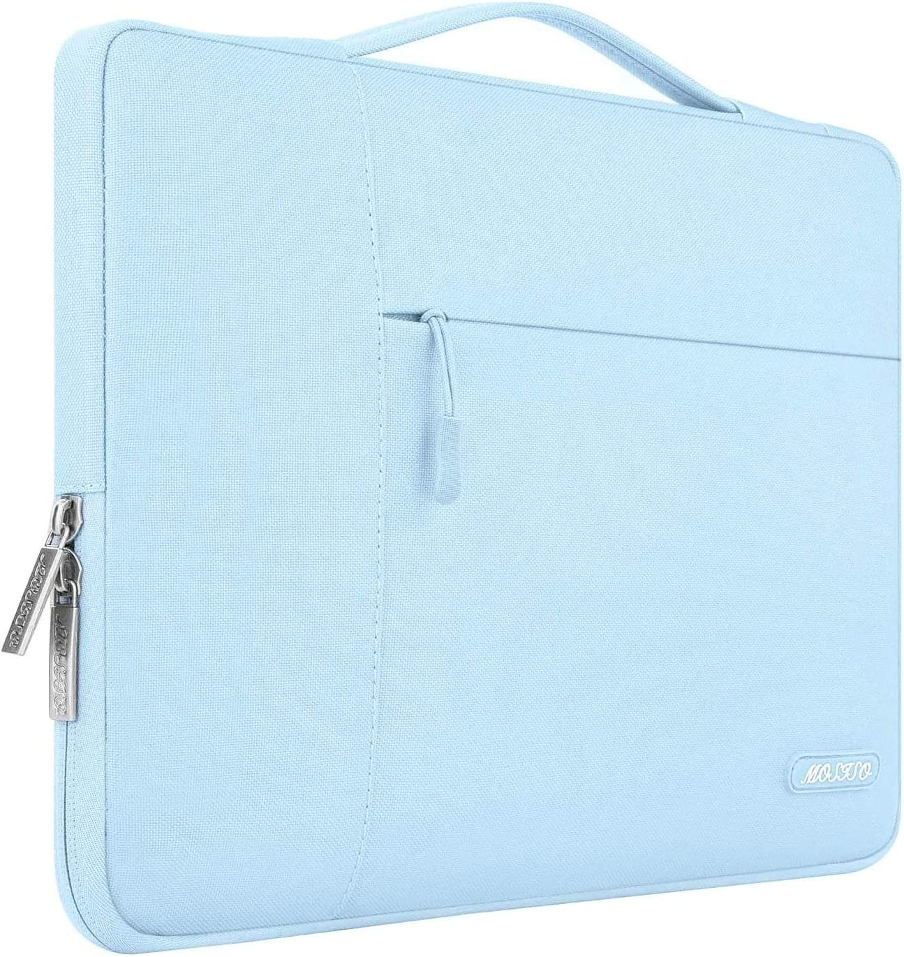 MOSISO Laptop Sleeve Compatible with MacBook Pro 16 inch with Touch Bar A2141, 15 15.4 15.6 inch Dell HP Asus Acer Samsung Sony Chromebook, Polyester Multifunctional Briefcase Bag, Airy Blue