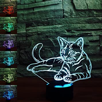 3D katze Illusions-Lampen, Tolle 7 Farbwechsel Acryl berühren ...