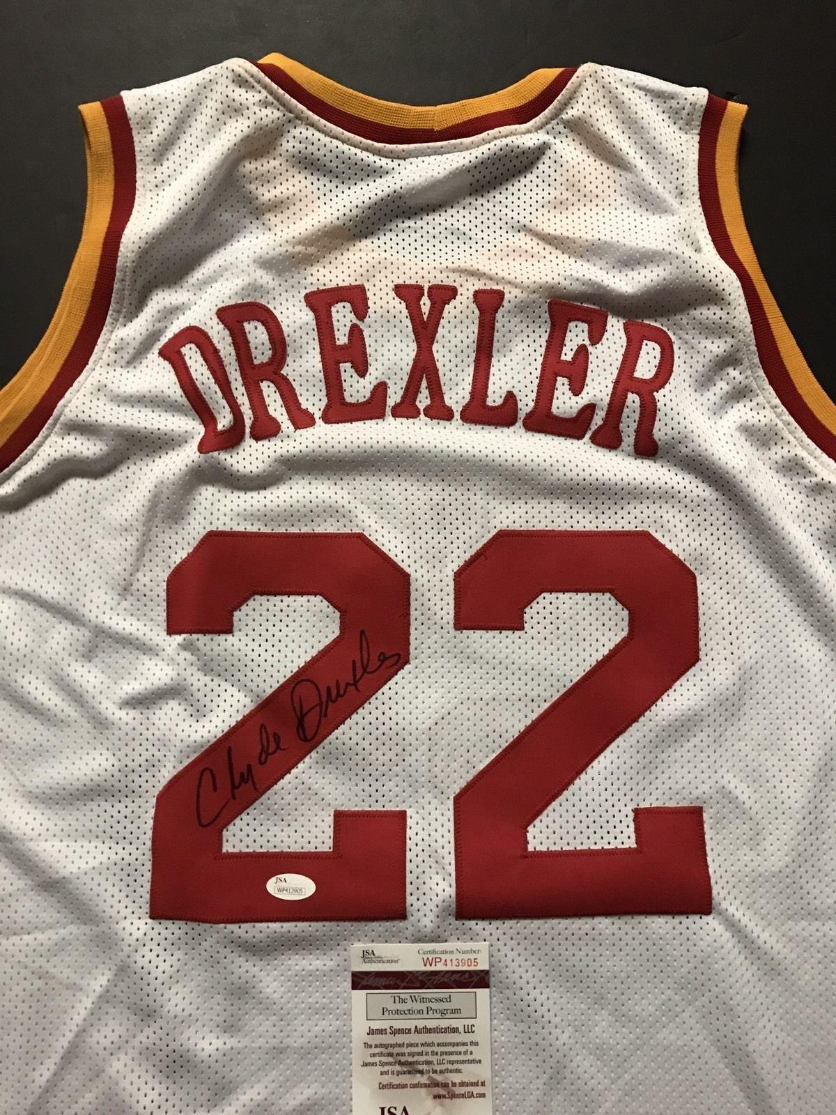Autographed/Signed Clyde Drexler Houston White Basketball Jersey JSA COA