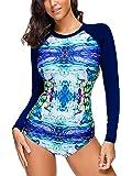 CHIC DIARY Women Rash Guard Long Sleeve Swim Top Triangle Bottom Two Piece Swimsuit