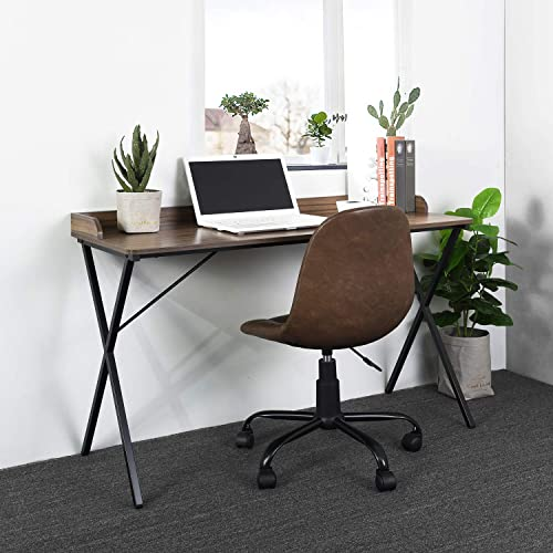 Aingoo Spacious Writing Computer Desk 47 with Raised Edge Design and Metal Frame, Brown