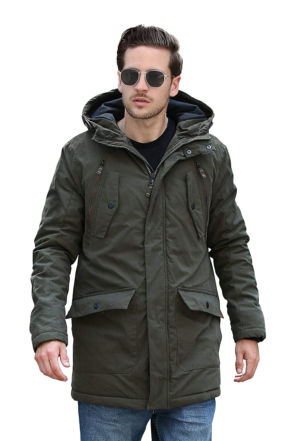 YsCube Mens Winter Thick Warm Parka Medium Length Thermal Coats with Hood