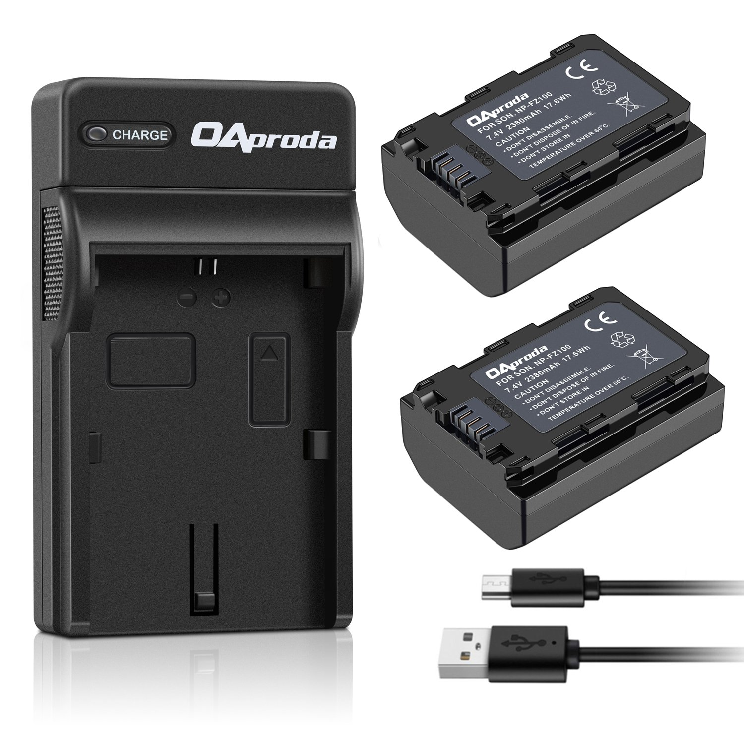 OAproda 2 Pack NP-FZ100 Battery 2380mAh and Rapid USB Charger for Sony NP-FZ100, BC-QZ1 and Sony A9, A7 III, A7R III, A7R3 Digital Cameras (Fully Decoded, 100% Compatible with Original) by OAproda