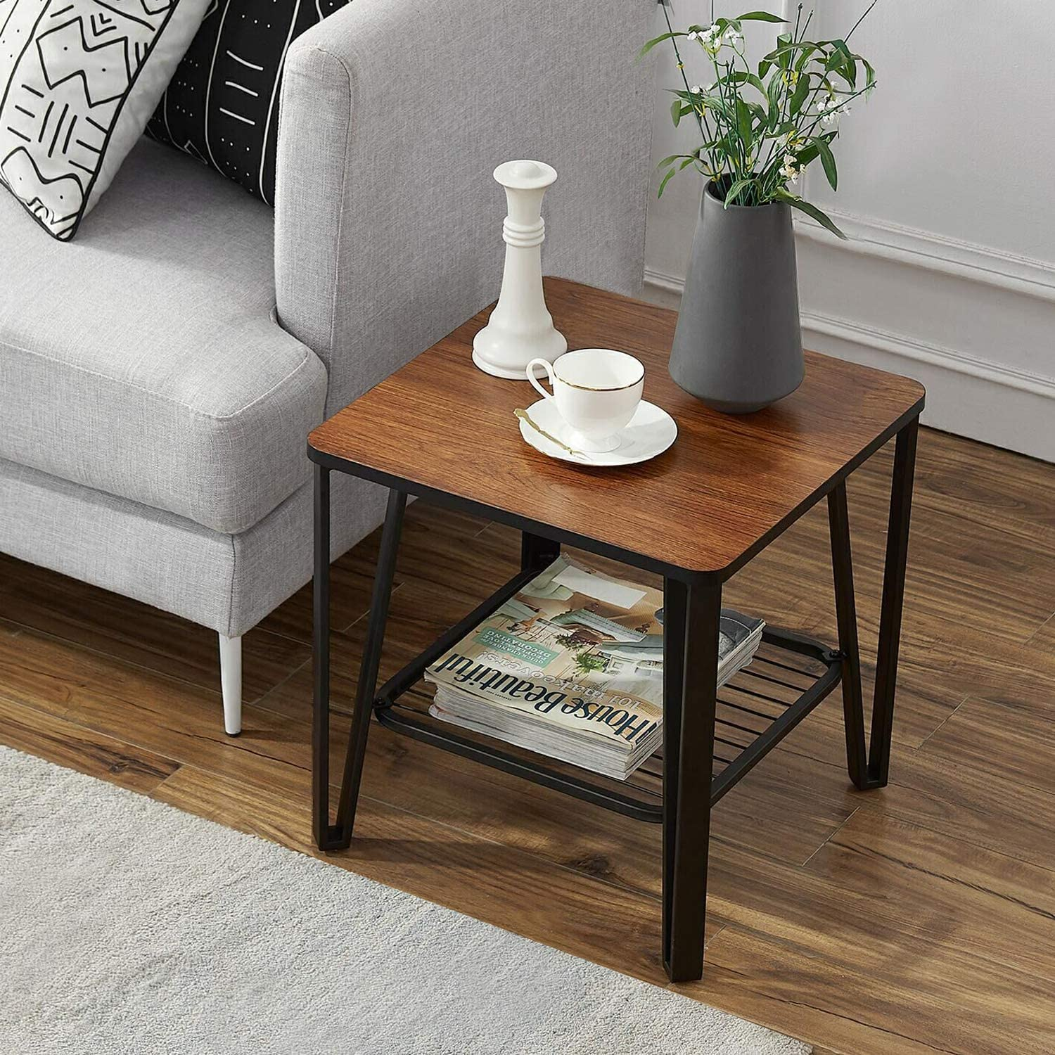 VECELO Industrial End/Side/Sofa Table, Night Stand with Metal Storage Shelf Living Room Furniture, Easy Assembly, Brown