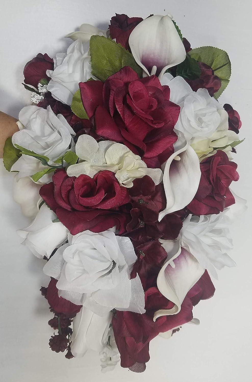 Amazoncom Burgundy Ivory White Rose Lily Cascading Bridal Wedding