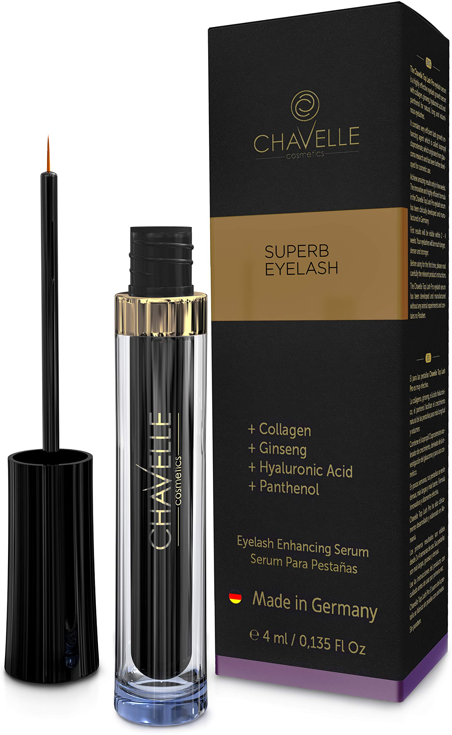 Eyelash Growth Serum Made in Germany - Natural Highly Effective Enhancer and Booster for Longer Eyelashes and Thicker Eyebrows I 0.135 Fl.Oz Superb Eyelash by Chavelle