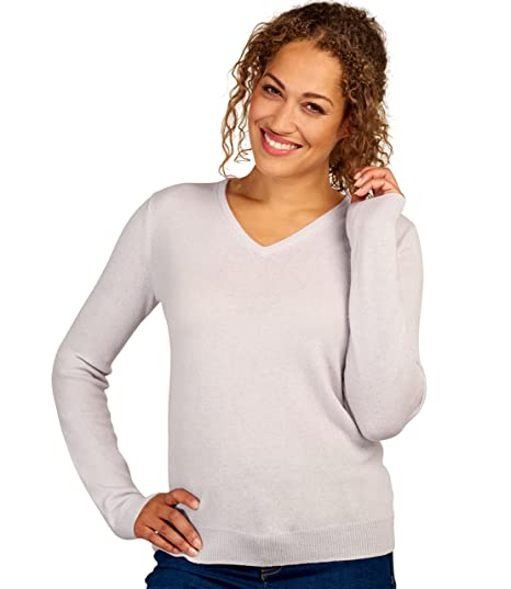 72b18f50f3a Woolovers Ladies Cashmere and Merino V Neck Knitted Sweater Nude, S ...