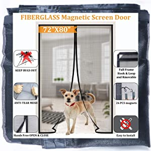 Magnetic Screen Door for French Door/Sliding Door 72''x80,Reinforced Fiberglass Retractable Double Door Screen Magnetic Closure with Full Frame Seal, Kids/Pets Entry Friendly,by Dysome