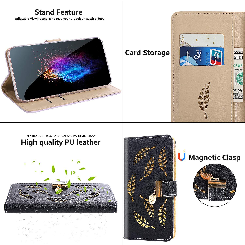 Housse Compatible avec Huawei Honor 9 Lite,/Étui en cuir Huawei Honor 9 Lite,Magn/étique Fermoir Coque /à Rabat Portefeuille Housse /Étui en PU Cuir S/érie de Feuilles Creuse Motif Cover,Argent