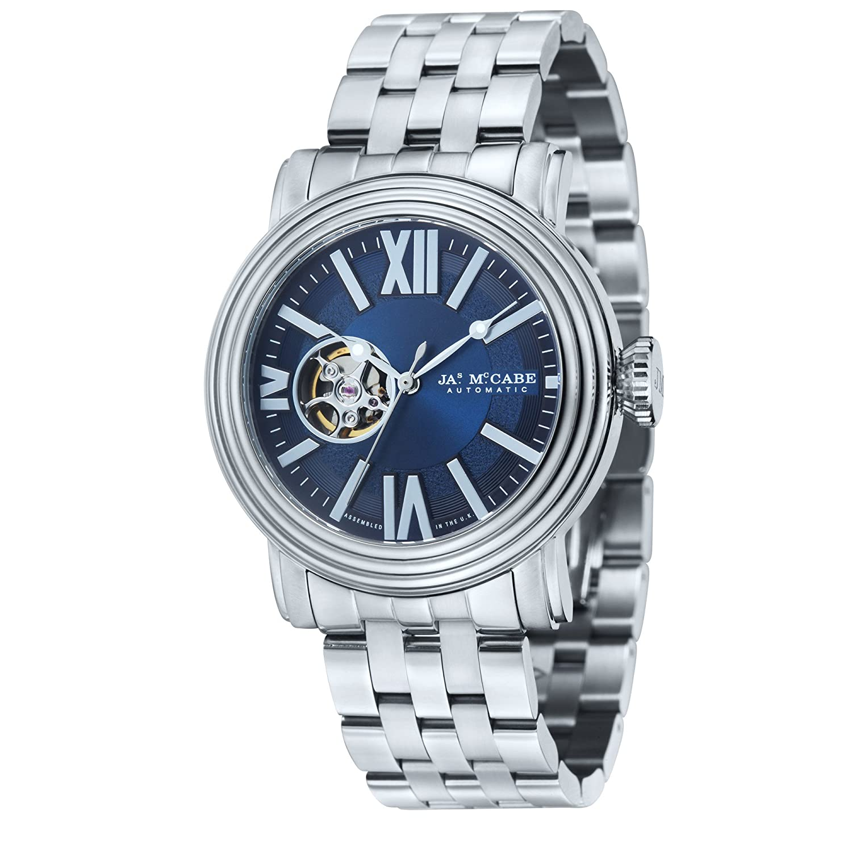 James McCabe Herren jm-1018–33 Victory Analog Display Offenes Herz Automatische Silber Armbanduhr