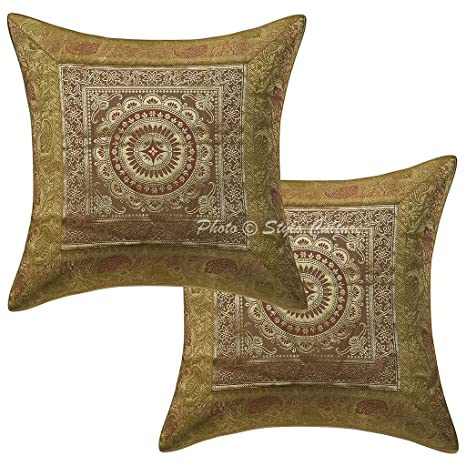 Amazon.com: Stylo cultura Oro algodón 16 x 16 brocado Self ...