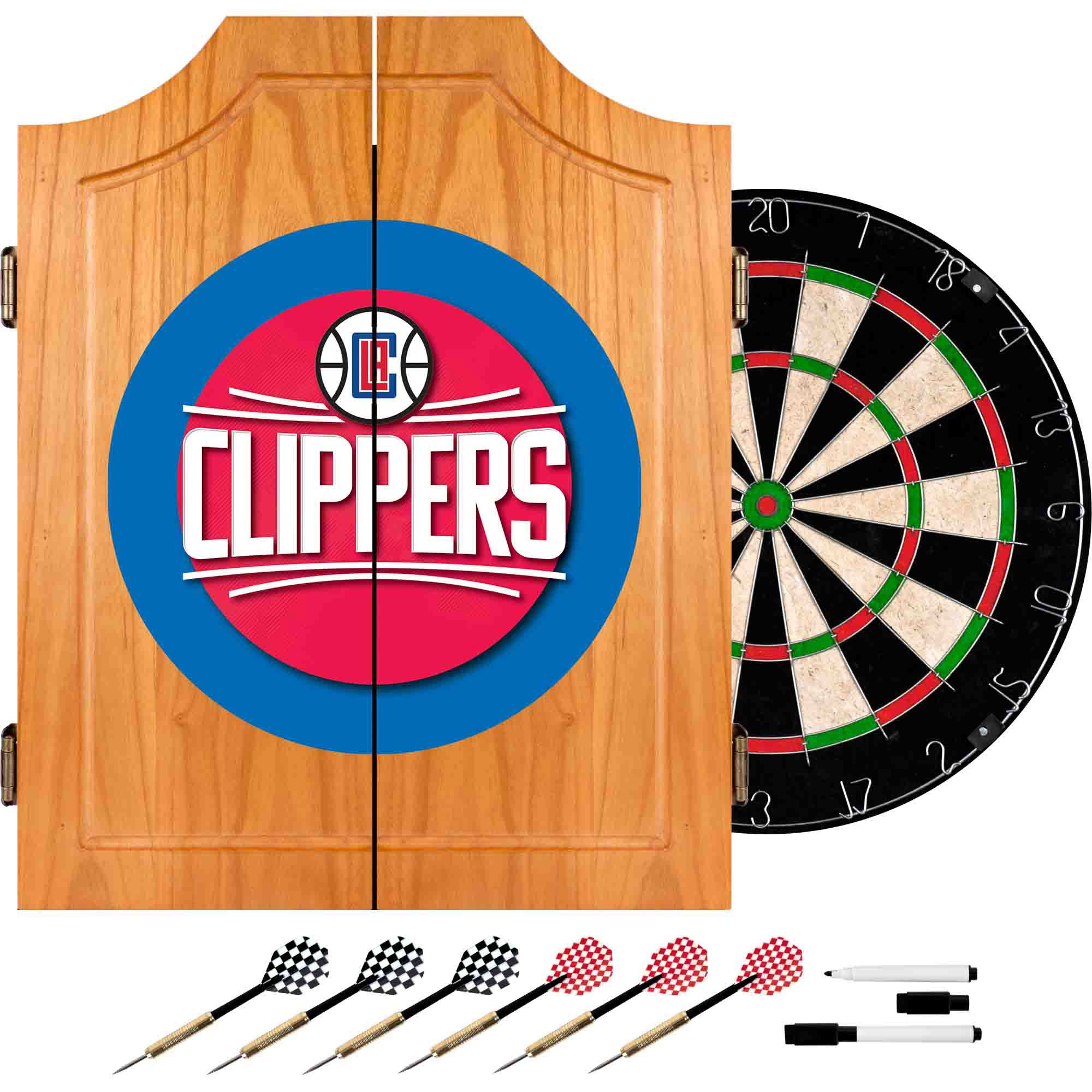 NBA Los Angeles Clippers Wood Dart Cabinet Set