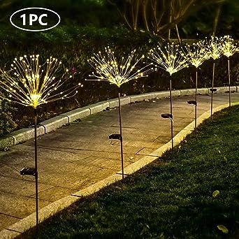 Luces solares de jardín de 150 luces LED para exteriores, impermeables, 8 modos intermitentes, estaca de fuegos artificiales, luces de hadas, árboles de flores para, patio, trasero (1 unidad): Amazon.es: Iluminación