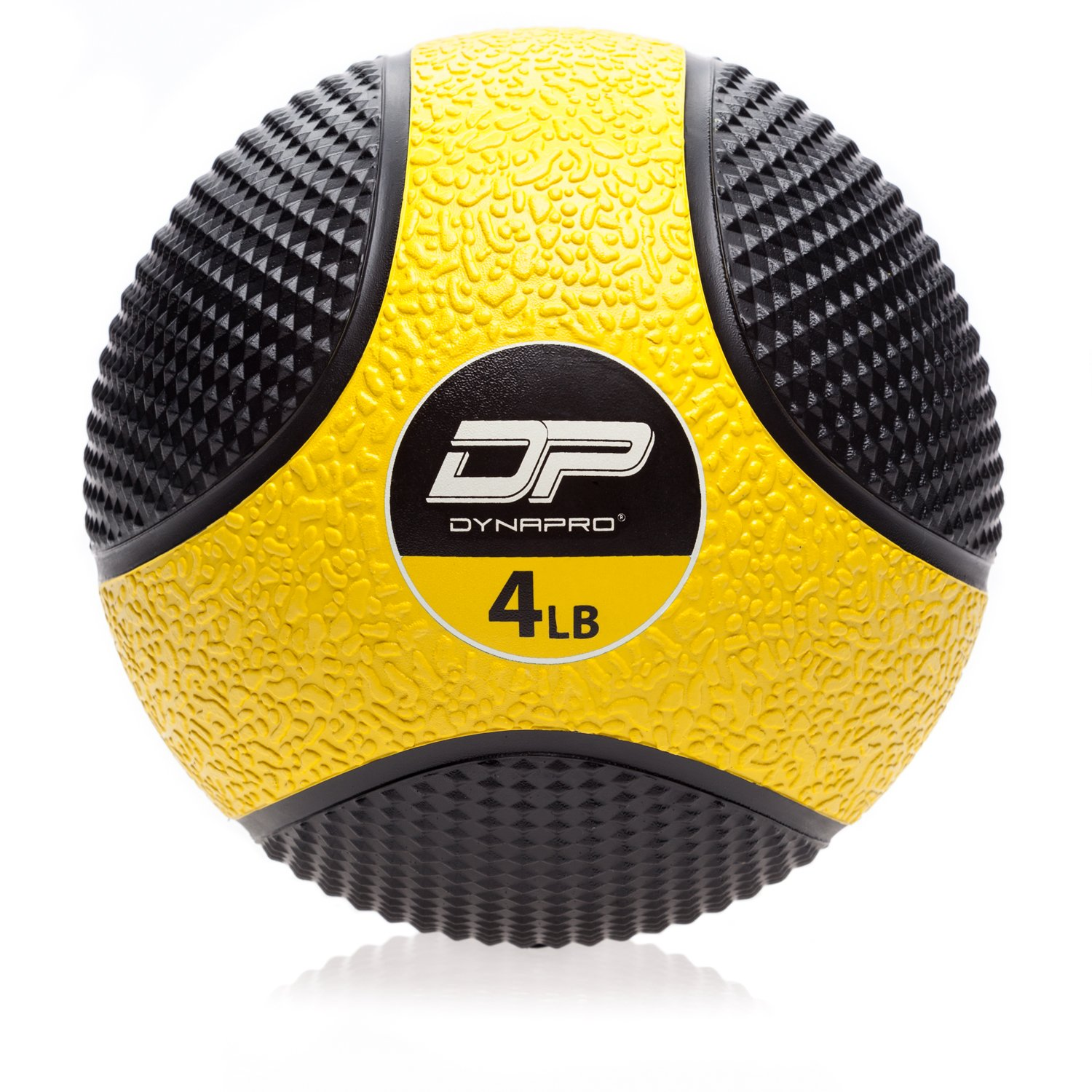 DYNAPRO Medicine Ball   Exercise Ball, Durable Rubber, Consistent Weight Distribution, Comfort Textured Grip for Strength Training (Yellow- 4LB)
