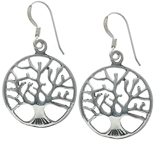 3191ab737 Image Unavailable. Image not available for. Color: Mona Ann Designs Sterling  Silver Tree of Life Dangle Earrings