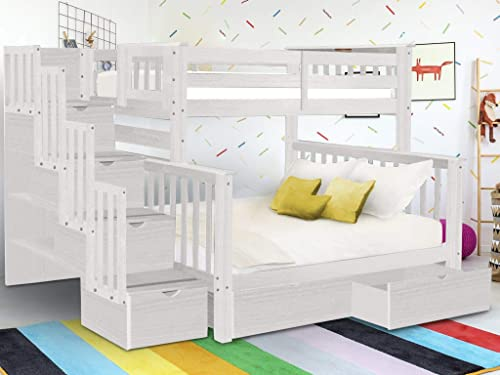 Bedz King BK961-Brushed-White-Drawers Bunk Bed