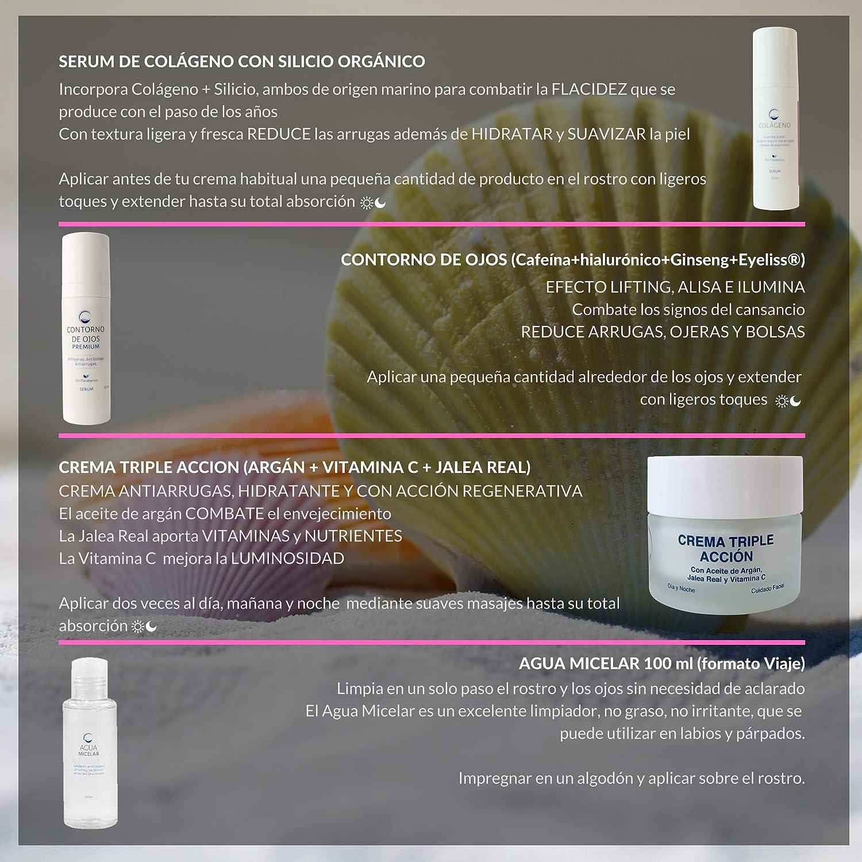 Pack Antiedad y Reafirmante | Contiene Serum Colágeno + Contorno de Ojos Efecto Lifting + Crema Regeneradora con Vitamina C, Jalea Real y Aceite de Argán ...