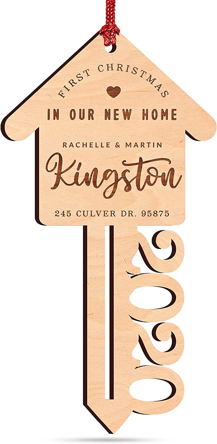First Christmas in Our New Home Ornament 2020, Personalized Christmas Key Ornament with Address & Names, Custom Engraved Wood Ornament, Xmas Ornament, Christmas Decoration Gift for Couples and Family