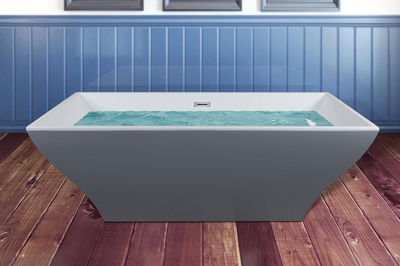 AKDY 67 Rectangular White Grey Acrylic Freestanding Soaking Bathtub ...