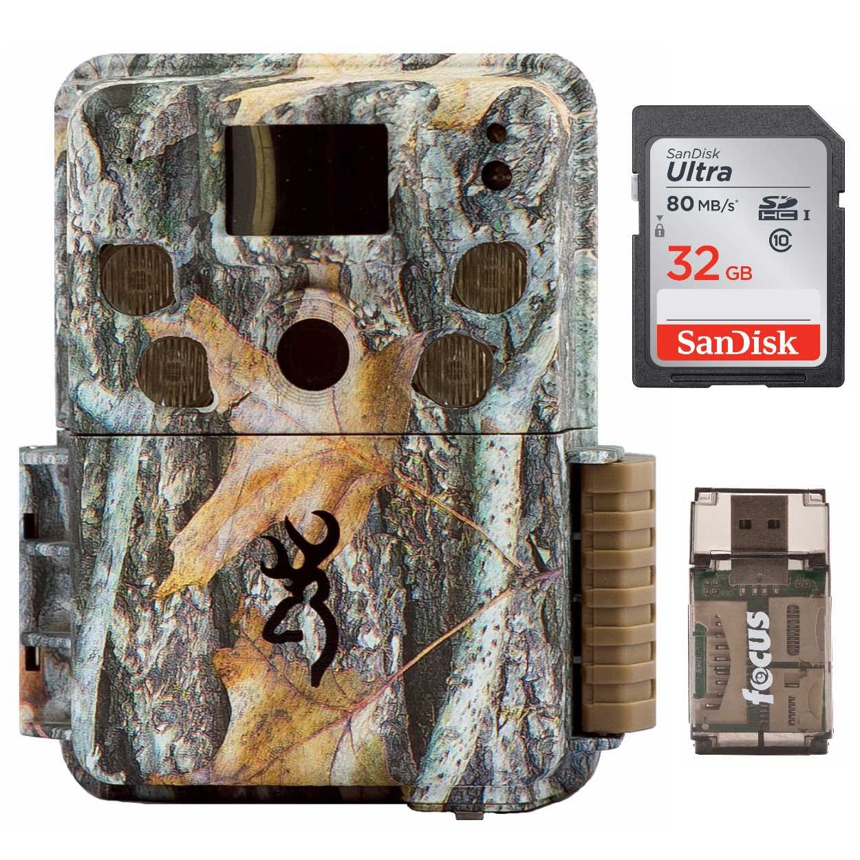Browning Strike Force Pro Micro Trail Cameras (18MP) with 32GB Memory Card and Focus Camera Card Reader